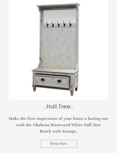 Make the first impression of your home a lasting one with the Okabena Distressed White Hall Tree Bench with Storage. #halltree #entryway #solidwood #shoestorage #furniture #cornerentryway #cornerhalltree #homedecor #decor #interiordecor #interior #interiordesign #bench #benchwithstorage #hanginghalltree #mahoganywood #blue #bluefurniture #bench #benchwithstorage