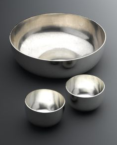 Raised and hammered circular silver bowl and tumblers. Scottish, by William Kirk Call For Entry, New Art, Tumblers, Tableware, Silver, Dinnerware, Tablewares, Dishes, Place Settings