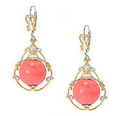 """Gems en Vogue 1.5"""" 14mm Round Bamboo Coral Bead & White Zircon Drop Earrings - 139-801 Retail Value: $192.00 EVINE Price: $143.75 Anniversary Price: $ 122.15 Save: $21.60 (15% off) or  6 ValuePay®: $20.36 Shipping & Handling: $6.99"""