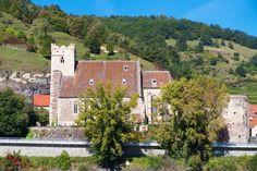 Wachau Valley, Austria - This is St. Michael's Church in Spitz, Austria. Inside is an altar made of human bones!