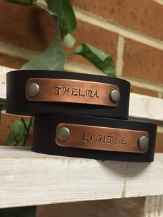 Thelma and Louise Leather Cuffs SET OF TWO Copper Hand-stamped Wrap & Snap Cuff Bracelet by BlueWillowBracelets on Etsy https://www.etsy.com/listing/499585735/thelma-and-louise-leather-cuffs-set-of