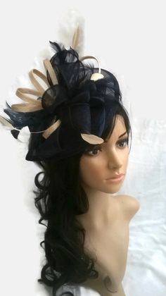 Navy Blue Fascinator with Nude trim & feathers..Sinamay and  Feather Teardrop style  with  swirls ,coque Feathers