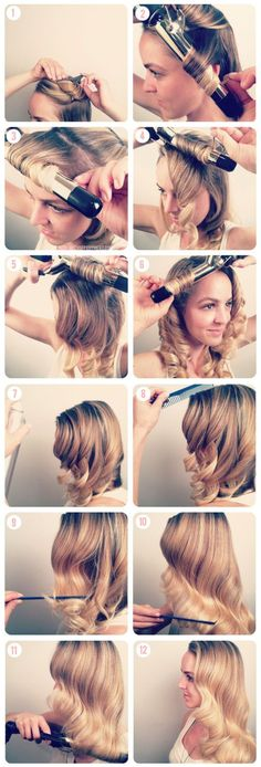 Veronica Lake curls | Comments: Comb out hair so no knots. curl as shown, starting at base and winding end around wand. http://www.youtube.com/watch?v=r5HDgTZxysg