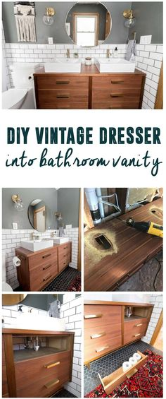 Mid-Century Dresser Into Vanity, How to turn a dresser into a bathroom vanity, Vanity from a Dresser, How to Make a Dresser into a Vanity, Dresser with Sinks on Top, Dresser with Double Sinks, Dresser with Ikea Sinks, Mid-Century Dresser in Bathroom, Modern Bathroom