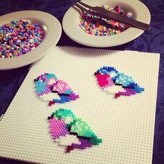 Birds hama mini beads by dutten1986