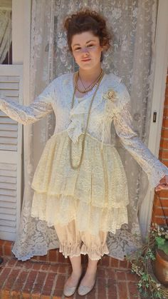 SALE French Chic Lace Duster Mori Girl by BerthaLouiseDesigns