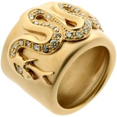 Pre-owned Pomellato Diamond Gold Snake Ring ($4,500) ❤ liked on Polyvore