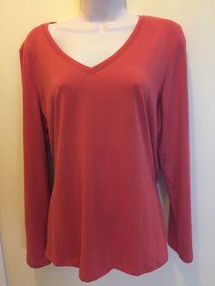 Women's Fashion Bug Size XL   Long Sleeve Blouse Dark Orange  EUC #FashionBug…