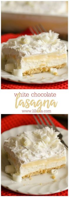White Chocolate Lasagna - a delicious, layered dessert with cream cheese pudding, Golden Oreos and topped with white chocolate curls.:
