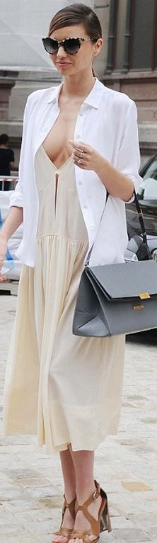 Who Made Miranda Kerrs Cat Sunglasses White Button Down Shirt And Gray Handbag