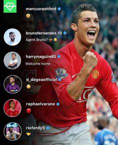 Ronaldo back to Man United Old Trafford, Man United, Ronaldo, Football Photos, The Unit, Baseball Cards, Manchester United