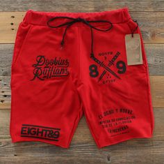 Doobious Ruffians French Terry Shorts Red from Saved to Everything people need. Teen Pants, Baby Pants, Boys Summer Outfits, Boy Outfits, Kids Shorts, Boy Shorts, Clothing Co, Mens Clothing Styles, Streetwear Shorts