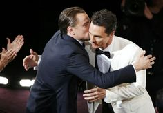 """leonardo dicaprio pulls matthew mcconaughey in for a hug.  he whispers, """"there won't always be witnesses around, matthew."""""""