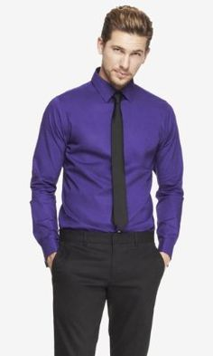 FITTED 1MX FRENCH CUFF SHIRT from EXPRESS. You can pull of purple. Btw, Express is having a clearance sale!!! Get you italian ass over there!!