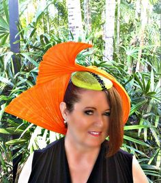 pre loved large Orange with lime green base and black flower trim fascinator hat Desinger made One Of A Kind by TwistedInTheTropics on Etsy Fascinator Hats, Headpiece, Lime, Orange, Green, Flowers, Handmade, Stuff To Buy, Etsy