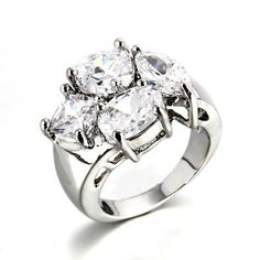 Fashion Four Pave Prong Setting Diamonds With Different Shapes Pt Rings