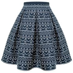 Rumour London - ANNA Embroidered Flared Skirt ($220) ❤ liked on Polyvore featuring skirts, bottoms, saia, faldas, blue pleated skirt, pleated midi skirt, skater skirt, flared midi skirt and blue circle skirt