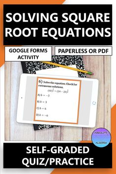 DIGITAL, NO PREP, SELF-GRADING practice, solving square root equations. Engage your high school Algebra students with 10 problems using google forms. This resource can be used as a Google Form OR a worksheet activity. Detailed instructions and answer key included. Perfect for distance and online learning. #distance learning #digital #self-graded #square root equations #square root #equations #google forms Fun Math, Math Games, Math Activities, Math Skills, Math Lessons, Middle School, High School, 12th Maths, Fluency Practice