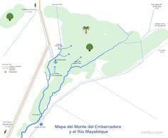 Mapa del Monte del Embarcadero y el Rio #Mayabeque actualmente con los sitios de interés del lugar