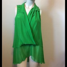 "Tracy Reese Top Sz L V neck tank top. Collared. Silk material. Bust: 44"". Waist: 48"". Length: 21"". Tracy Reese Tops"