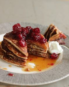 Cranberry Sauce, Oat and Flax Pancakes