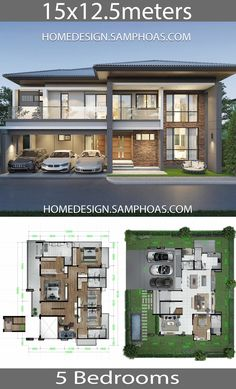 Home Design Plans with 5 bedrooms - Home Ideas - House Architecture 5 Bedroom House Plans, 3d House Plans, Modern House Floor Plans, Model House Plan, House Layout Plans, Dream House Plans, House Layouts, Modern Home Plans, Two Storey House Plans