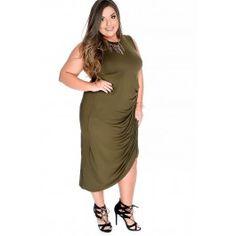 Sexy Army Green Draped Side Dress Plus