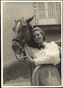 """1936 """"Woman with Horse Standing Before Balcony"""" , Unknown Artist"""