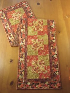 Fall Quilted Table Runner with Leaves by patchworkmountain.com