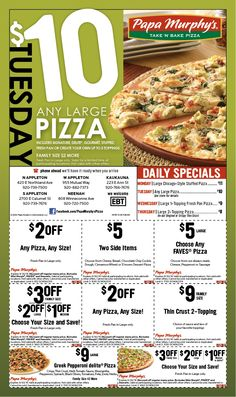 image about Papa Murphys Coupons Printable named Coupon papa murphys acquire and bake pizza - Overstock coupon 15