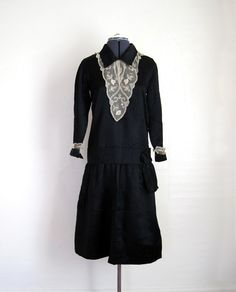vintage 1920s black silk and antique lace flapper dress