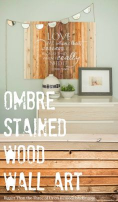 DIY Ombre Stained Wood Wall Art Tutorial but shaped as Oregon state. Diy Wall Art, Wood Wall Art, Wall Decor, Diy Curtain Rods, Diy Curtains, Diy Spring, Diy Ombre, Palette, Room Paint