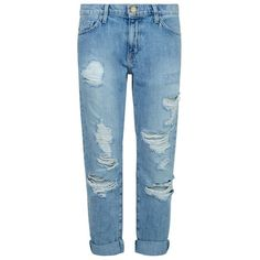 Current/Elliott The Fling Distressed Slim Boyfriend Jeans (€350) ❤ liked on Polyvore featuring jeans, blue ripped jeans, destructed jeans, distressed jeans, ripped jeans and torn boyfriend jeans