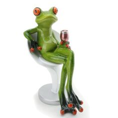 We pay your sales tax Novelty Funny Frog Figurine Holding Wine Cup Sitting on a Chair Relaxing Statue Home. title: We pay your sales tax Novelty Funny Frog Figurine Holding Wine Cup Sitting on a Funny Frog Pictures, Frog Sitting, Funny Frogs, Green Frog, Frog And Toad, Collectible Figurines, Fantasy Creatures, Green And Orange, Whimsical