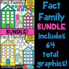 Fact Family House Clipart BUNDLE KIT with Foldable pieces! It includes houses with addition, subtraction, a mix of subtraction and addition, open-ended math, round foldable flaps, and square foldable flaps so you can easily create your own fact family resources. $6.00