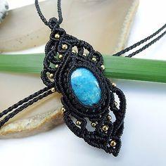 Macrame Necklace Pendant Cabochon Blue Turquoise Stone Cotton Waxed Handmade