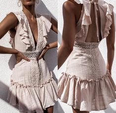 Summer Dress Sexy Crochet Lace Backless V Neck Women Strap Sleeveless Hollow Out Short Casual Beach Party Dresses Vestidos Trendy Dresses, Sexy Dresses, Fashion Dresses, Embroidery Dress, White Embroidery, V Neck Dress, The Dress, Spring Dresses, Ruffle Dress