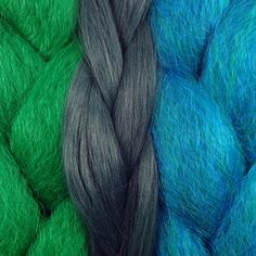 Kanekalon color comparison from left to right: Emerald Green, Myrtle Green, Petrol Green