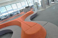 Horizon by @Connectiontweet in @camira Halcyon Blossom fabric looks great in @SwanseaUni Bay Campus Library.