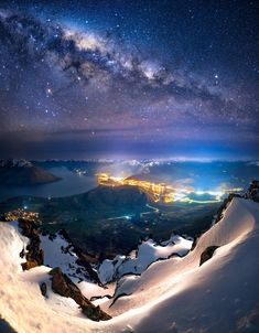 The Milky Way over Queenstown, New Zealand Photography by Beautiful World, Beautiful Places, Beautiful Scenery, Wonderful Places, Landscape Photography, Nature Photography, Milky Way, Science And Nature, Belle Photo