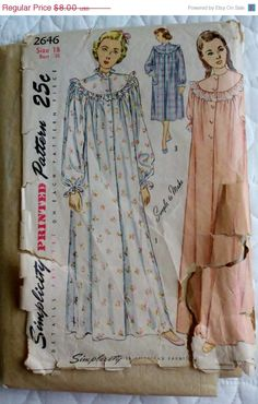 25 % OFF 1940's Women's Button Down, Long Sleeve Nightgown Vintage Sewing Pattern Simplicity 2646-  $6.00, via Etsy.