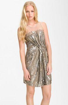 Sheer Yoke Sequin Bead Dress by Parker #fashion