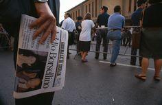 Durante i funerali a Palermo, il 24 luglio 1992.