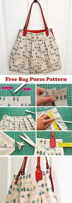 Free Bag Purse Pattern A practical roomy size, neat preppy pleats and a sweet curved top edge make thistote pretty much the perfect bag for all of your day trips!