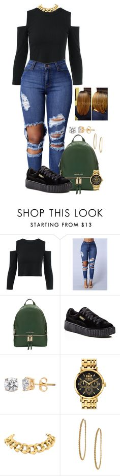 """""""Untitled #2115"""" by basnightshine1015 ❤ liked on Polyvore featuring MICHAEL Michael Kors, Puma, Versus, Seaman Schepps and Dogeared"""