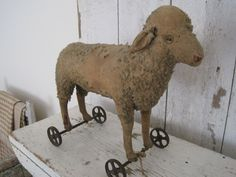 Early 1900's Steiff Large Sheep Pull Toy Iron Wheels Metal Button       | eBay  sold   540.00.      ...~♥~