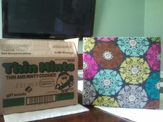 Before & After..Glad I saved those Girl Scout cookie boxes!! Its amazing what a little fabric & spray adhesive will do!!! Thin Mint boxes are perfect fit for letter hanging files!!