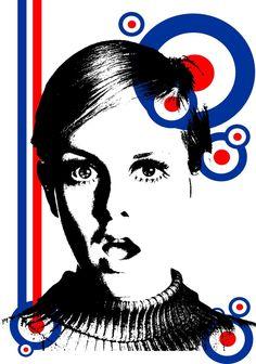 'mod girl twiggy' by Twiggy, Mod Scooter, Scooter Girl, Mod Girl, Britpop, Northern Soul, Mod Fashion, Girl Fashion, Illustration