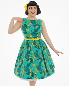 5f07f3a23593d 'Audrey' Blue Macaw Print Swing Dress | Vintage Inspired Fashion | Lindy Bop  Vintage