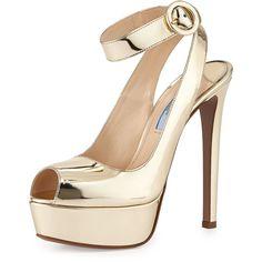 Prada Metallic Ankle-Wrap Platform Sandal